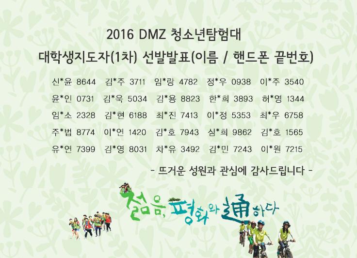 2016 DMZ 청소년탐험대 (1차) 대학생지도자 선발 결과